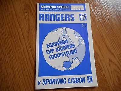 GLASGOW RANGERS  v  SPORTING LISBON ( PORTUGAL )   1971/2  ECWC ~ OCTOBER 20th