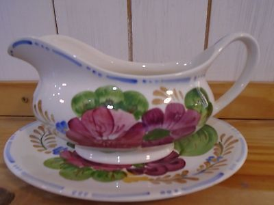 Simpsons pottery Belle Fiore gravy boat and stand. Cockerel mark on bottom