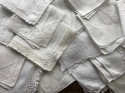 A+ Vintage Lot 16 Lace Embroidered White Wedding Bridal Hankies Handkerchiefs