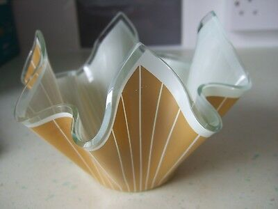 "Scarce Chance Handkerchief Vase 4"" Mustard And White Decoration"