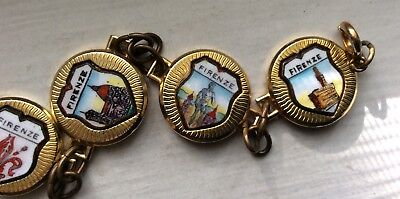 FLORENCE ITALY  - ENAMEL TRAVEL SHIELD BRACELET Vintage Medallion Charms