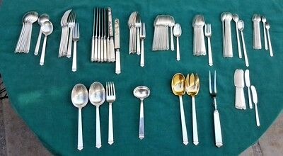 Tiffany & Co Sterling Silver 87 pieces HAMPTON pattern flatware set for 8  RARE