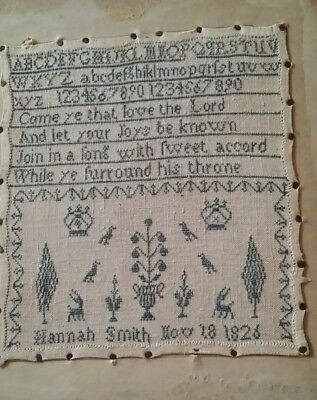 MID 19TH CENTURY alphabet numbers verse SAMPLER BY Hannah Smith AGE 9 - 1826