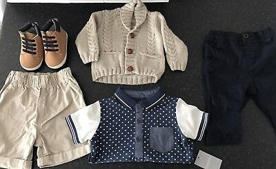 Bundle Boys Infant 3-6  NEXT trousers, Hand Knitted Cardi, Boots, Top, Shorts