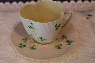 Vtg. Belleek Ireland Teacup And Saucer - Shamrock With Harp Handle - 1St Green