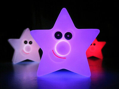 1PC Changing Color LED Light Multi-Color Magic Novelty Star Smile Night UK