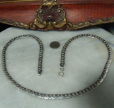 """Art Deco Vintage Sterling Silver Very Heavy 24"""" Necklace for Woman or Man"""