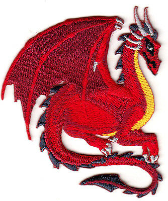 RED DRAGON - LEGENDARY ANIMAL - FANTASY - MYTHICAL - Iron On Embroidered Patch