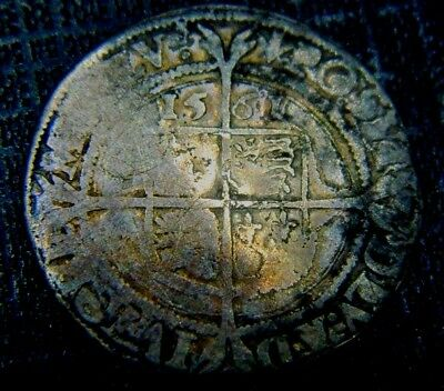 Tudor Period 1561 Elizabeth 1St Silver Sixpence Rose Beside Bust.mm Pheon.(2)