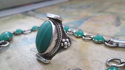Vintage Ethnic Large Malachite Cabachon Sterling Silver Ring, Size 9