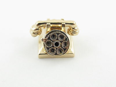Vintage 14K Yellow Gold 3D Rotary Telephone Charm