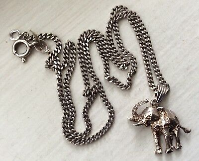 LUCKY ELEPHANT - Vintage Made In Italy 16 Inch Chain STERLING Necklace Pendant