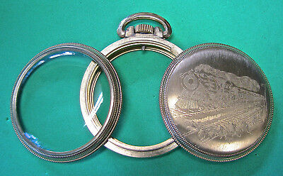 A beautiful 16 size TRAIN ENGRAVED pocket watch case that could pass for NOS