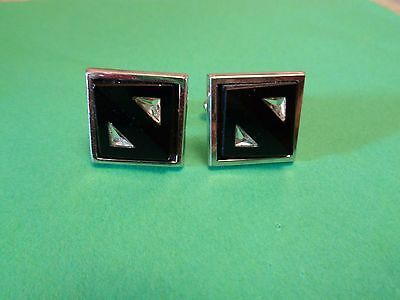 Vintage Signed HICKOK USA Black Onyx & Clear Stone Cuff Links