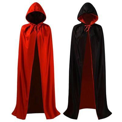 Halloween Black Red Vampire Robe Witch Cape Reversible Devil Cloak Long Hooded A