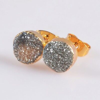 8mm Round Natural Agate Titanium Druzy Stud Earrings Gold Plated T047611