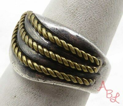 "Sterling Silver Vintage 925 Golden Rope Trim Dome Ring Sz 6.75"" (10.5g) - 575492"