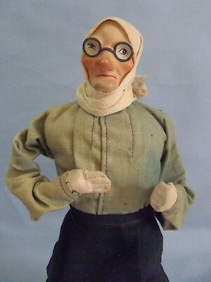 """1930s-40s Character composition head old Lady Doll on cloth and wires body 12"""""""