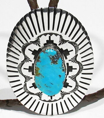 LARGE Vintage Signed Navajo Nevada Turquoise 925 Silver Sun Bolo Tie Necklace