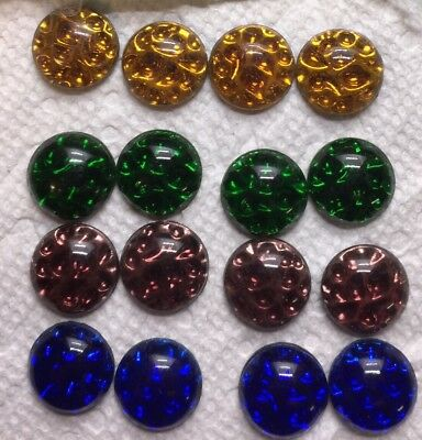 4 colors— Vintage-RARE-15mm Round Shiny Pin fire Cabochons-16pc -German Glass
