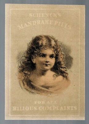 Schenck's Mandrake Pills late 1800's medicine trade card #C