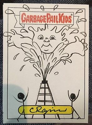 2017 Garbage Pail Kids Battle Of The Bands 1/1 Sketch Adam Bomb Oil Spill.