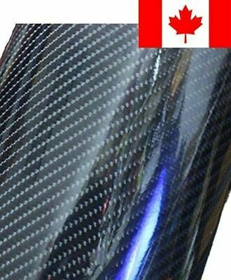 12''x60'' Premium HIGH GLOSS Black Carbon Fiber Vinyl Wrap Texture DIY Film