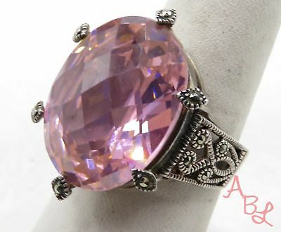 Sterling Silver Vintage 925 Large Cocktail Pink Stone Ring Sz 8 (14.9g) - 575520