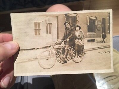 Rare Old RPPC Real Photo Postcard W/ Yale Motorcycle & Riders