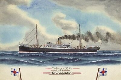 ALLINGA of the Adelaide SS Co Watercolour Art Postcard Digital Modern