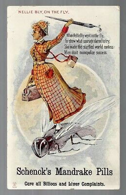 Schenck's Mandrake Pills late 1800's medicine trade card- Nellie Bly, On The Fly