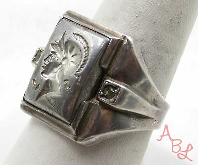 Sterling Silver Vintage 925 Knight Soldier Signet Ring Sz 9 (6.8g) - 575548