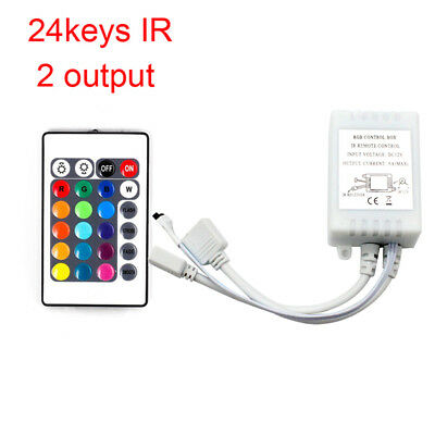 24Key Mini IR Remote Controller For 3528 5050 SMD RGB LED Light With 2 Output