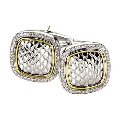 Sterling Silver and 14k Yellow Gold Square Snake Pattern Diamond Cufflinks
