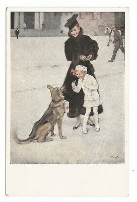postcard Wennerberg WWI German patriotic home front red cross charity dog & girl