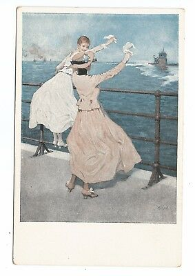 postcard Wennerberg WWI German patriotic home front women wave to navy; U-Boat ?