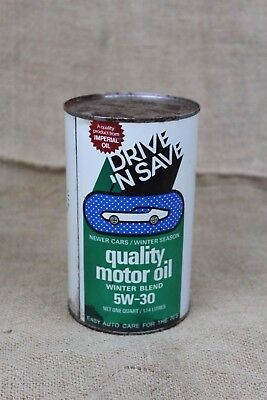 Hard to Find DRIVE N SAVE 1970s FULL un-opened Imperial Oil Can vintage
