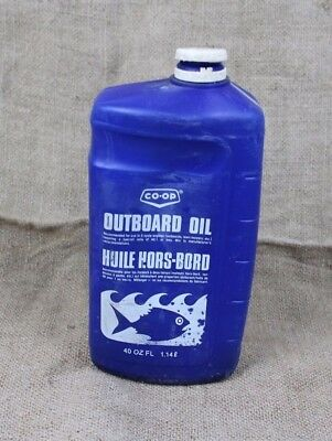 vintage CO-OP Outboard Snowmobile Motor Oil Plastic jug can 2-cycle 1 quart