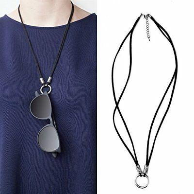 Reading Glasses Holder Eyeglass Necklace Sunglasses Necklace  Leather and Met...