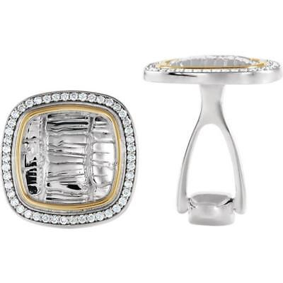 Sterling Silver and 14k Yellow Gold Square Alligator Pattern Diamond Cufflinks