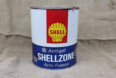 vintage SHELL anti-freeze 1 gallon Oil can Shellzone