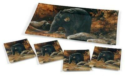Streamside Black Bear Terry Redlin Home Decor Appetizer Glass Tray Serving Set