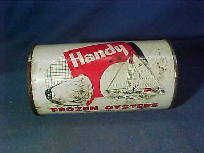 1950s HANDYS FROZEN OYSTERS Advertising TIN Opened