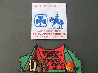 Girl Guides Canada 1995 Quebec Rally Ribbon & Brownie Spark Fun Day 2004 Patch