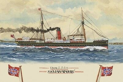 MANAPOURI of the  UNION SS Co New Zealand Art Modern digital Postcard
