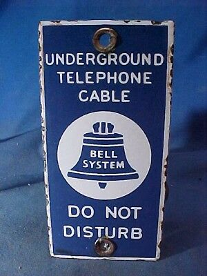 1930s BELL TELEPHONE Porcelain ENAMEL Underground CABLE SIGN Do Not Disturb