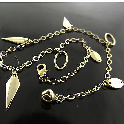 Fsa604 Genuine Real Classic 18K Yellow G/f Gold Assorted Charm Bracelet Anklet