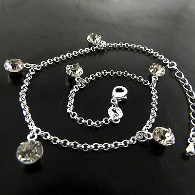 Fsa757 Genuine Real 925 Sterling Silver S/f Ladies Diamond Simulated Bead Anklet