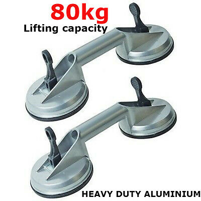 2 x HEAVY DUTY ALUMINIUM DOUBLE RUBBER SUCTION CUP PAD GLASS LIFTING HANDLE TOOL