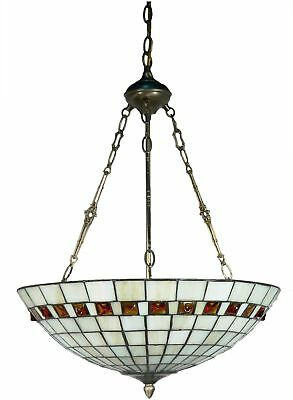 Tiffany Style Ceiling Light Inverted Pendant White Dining Entryway Mission NEW
